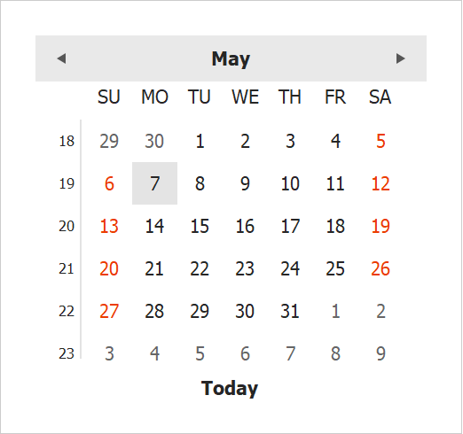 WinForms Calendar - ClassicNew View | DevExpress