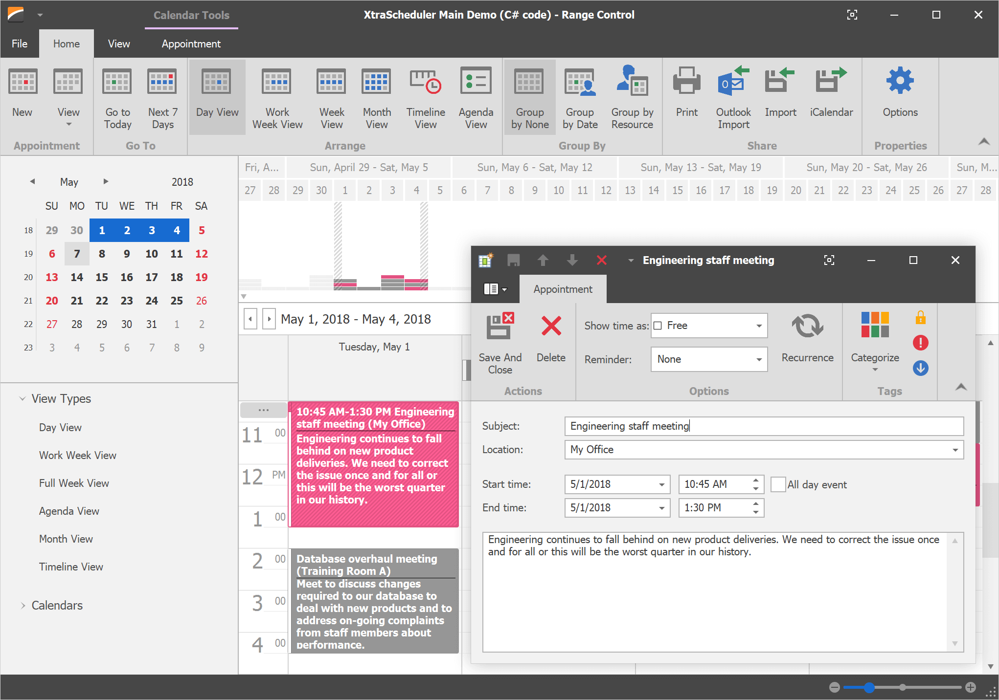 WinForms Scheduler - Vector Icons UI | DevExpress