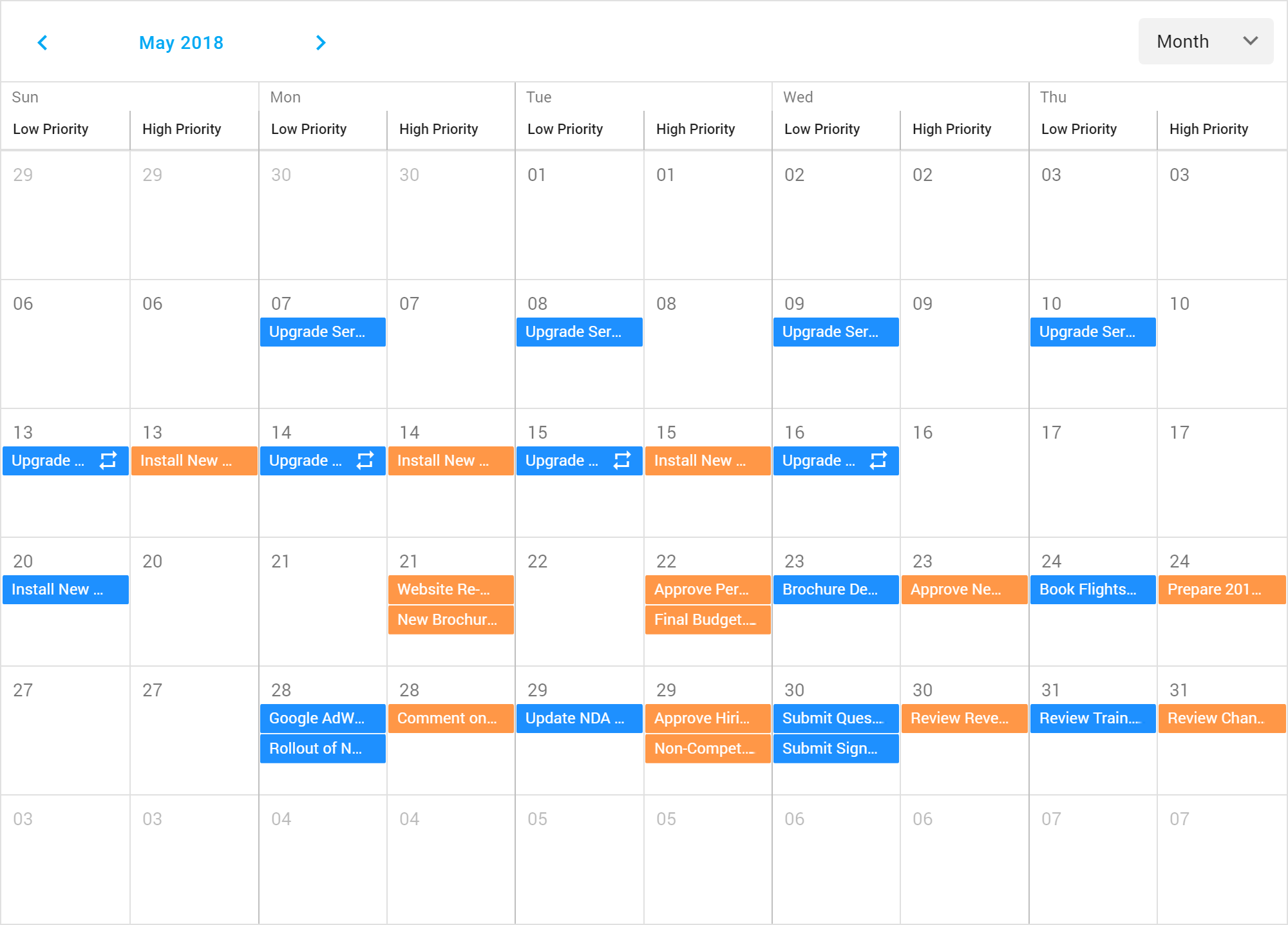 HTML5 Scheduler - Group by Date, DevExtreme | DevExpress