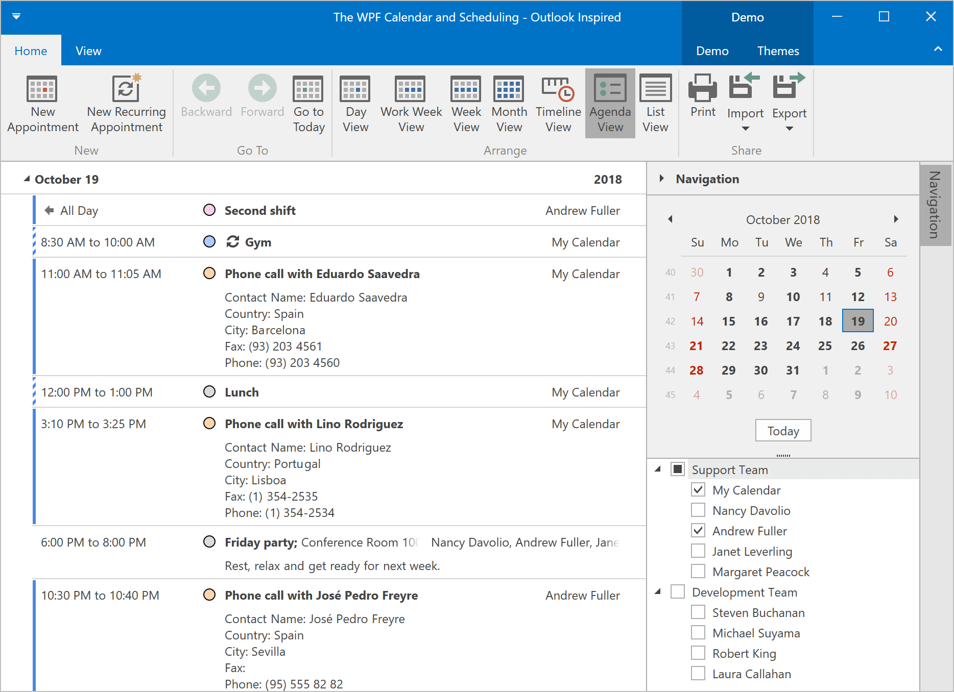 Agenda View - WPF Scheduler, DevExpress