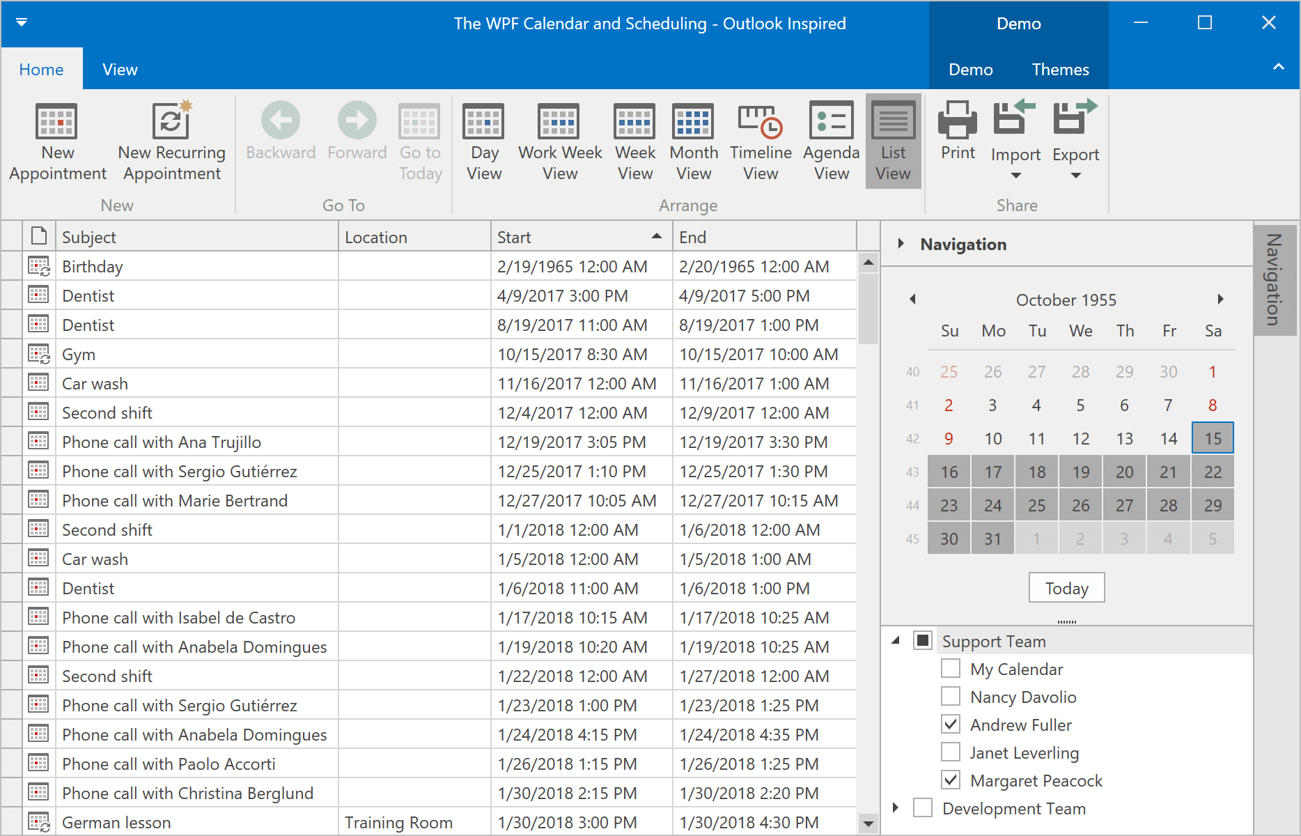 List View - WPF Scheduler, DevExpress