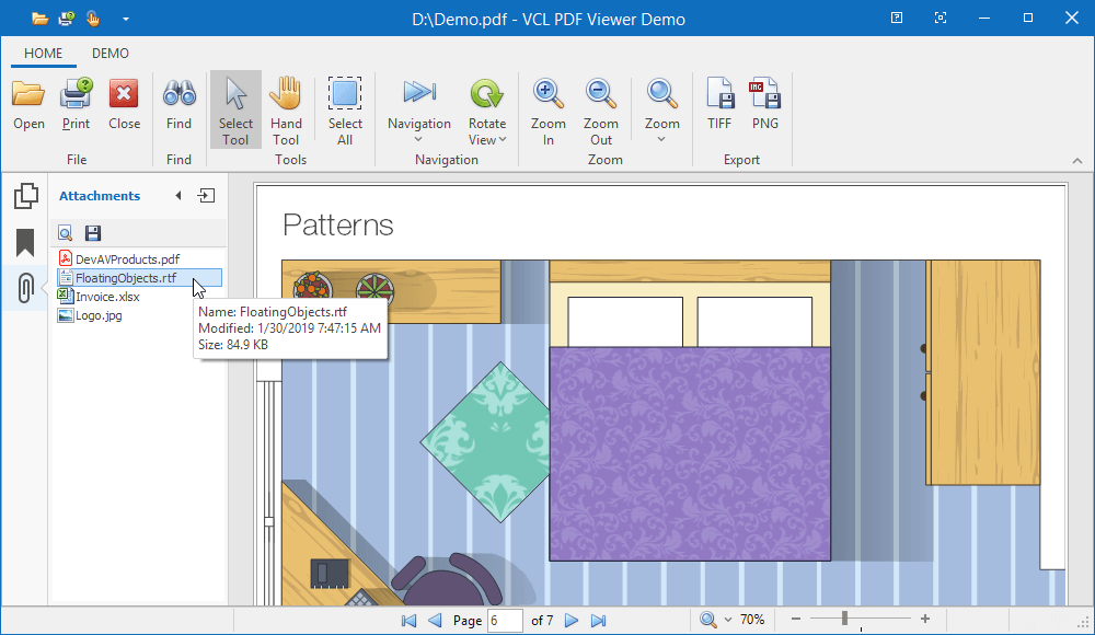 VCL PDF Viewer - Attachments Panel, DevExpress