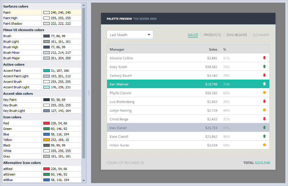 Project Settings Palette Editor