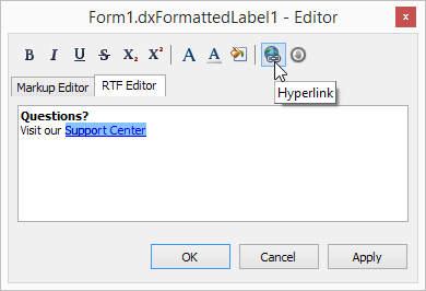 VCL Formatted Label - Design-Time Editor, DevExpress