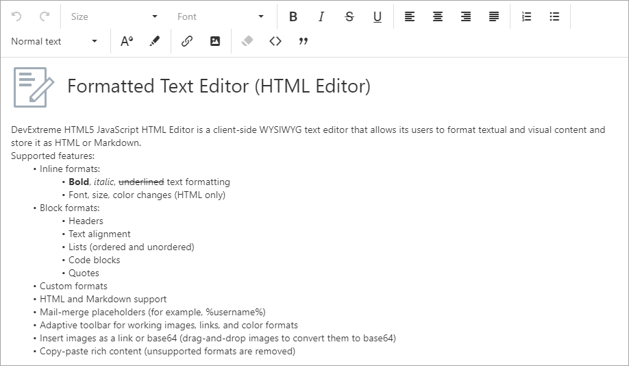 HTML/Markdown Editor - Multi-line Toolbar | DevExpress
