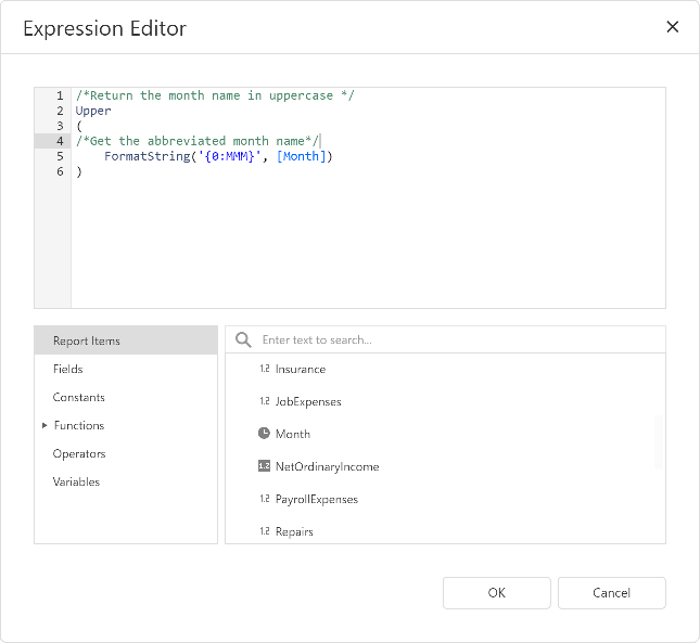 Expression Editor - Comments and Line Breaks, .NET Reporting | DevExpress