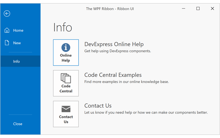 Backstage View - WPF Ribbon | DevExpress