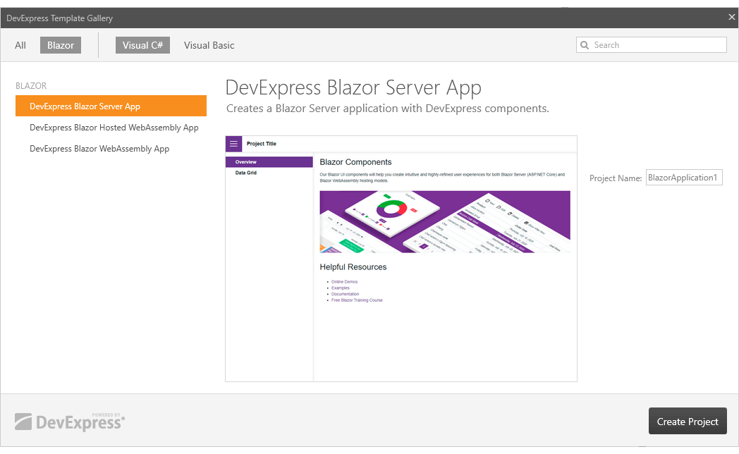 Blazor Project Templates - DevExpress Template Gallery in Visual Studio