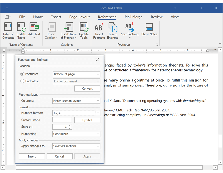Footnotes and Endnotes UI - Rich Text Editor for WinForms and WPF | DevExpress