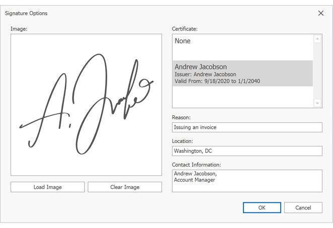 Document Viewer - Signature Options