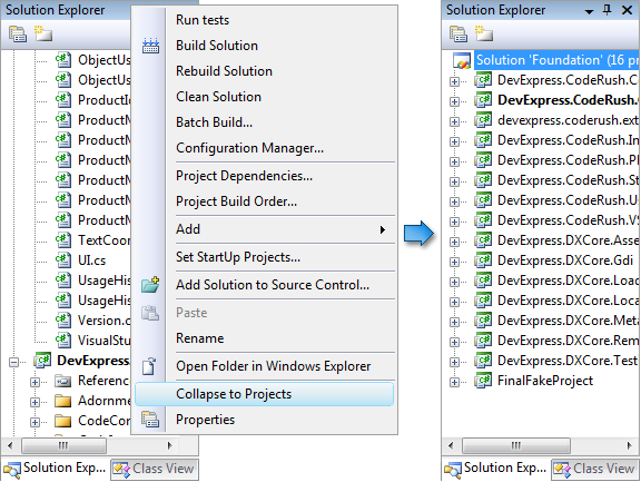 CodeRush - Collapse Projects Menu in Solution Explorer