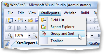 XtraReports Menu Item in Visual Studio
