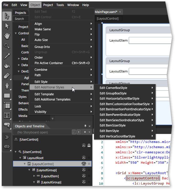 Silverlight Layout Control - Element Styling at Design-Time