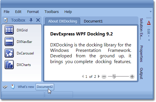 WPF Dock Windows - Closed Panels Toolbar