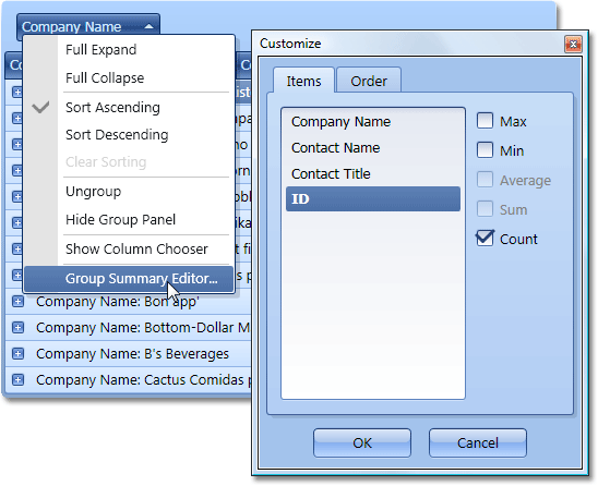 WPF Grid - Context Menus and Built-in UI