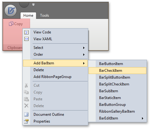 Ribbon Design Time Customization Menu - DXRibbon for WPF