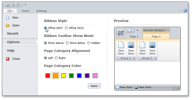 Ribbon BackstageViewControl - DXRibbon for Silverlight