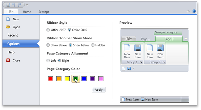 Ribbon BackstageViewControl - DXRibbon for WPF