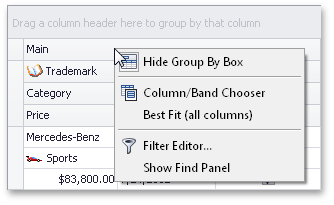 Band Context Menu - DevExpress XtraGrid for WinForms