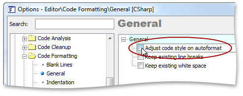 Adjust code style on autoformat - CodeRush by DevExpress