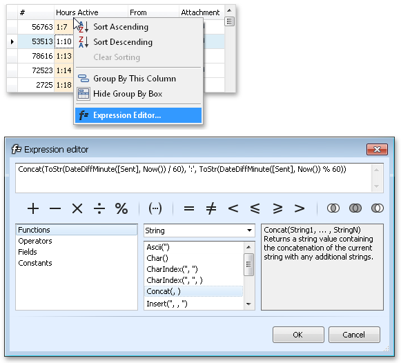 Expression Editor for Unbound Columns in Server Mode - WinForms XtraGrid by DevExpress