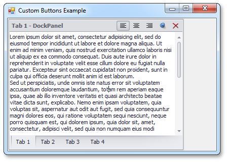 Custom Header Buttons - WinForms Dock Library by DevExpress