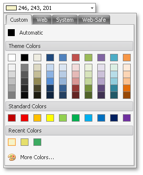 WinForms Color Pick Edit by DevExpress