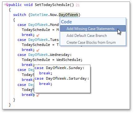 Add Missing Case Statements code provider - CodeRush by DevExpress