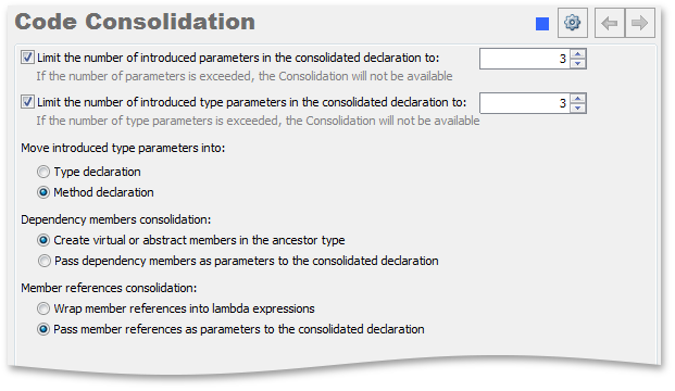 Code Consolidation options page - CodeRush by DevExpress