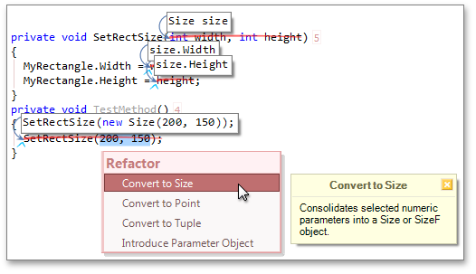 Convert to Size refactoring - CodeRush by DevExpress