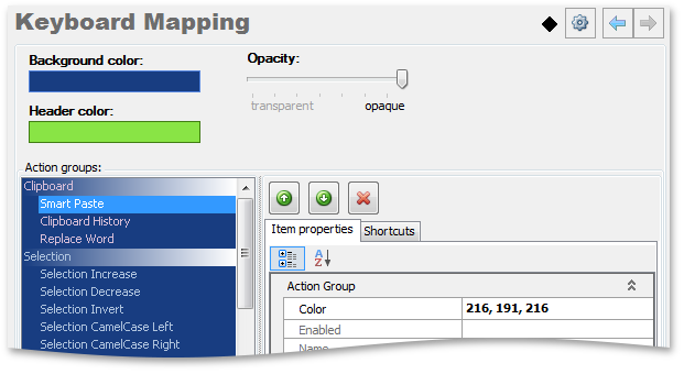 CodeRush Keyboard Mapping window settings - CodeRush by DevExpress