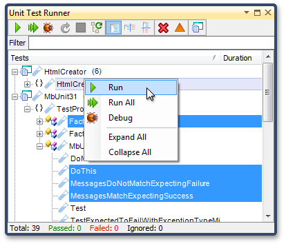 Multiselection in the Unit Test Runner window - CodeRush by DevExpress