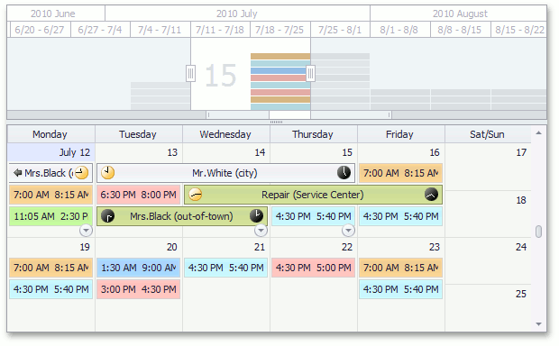 DevExpress WinForms Scheduler - Integration with RangeControl