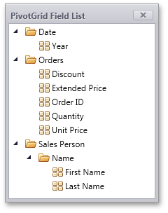 Silverlight Pivot Table - User Field List Folders