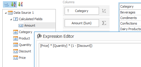 .NET Dashboard - Calculated Fields