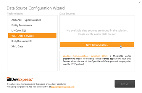 WPF Data Source Wizard