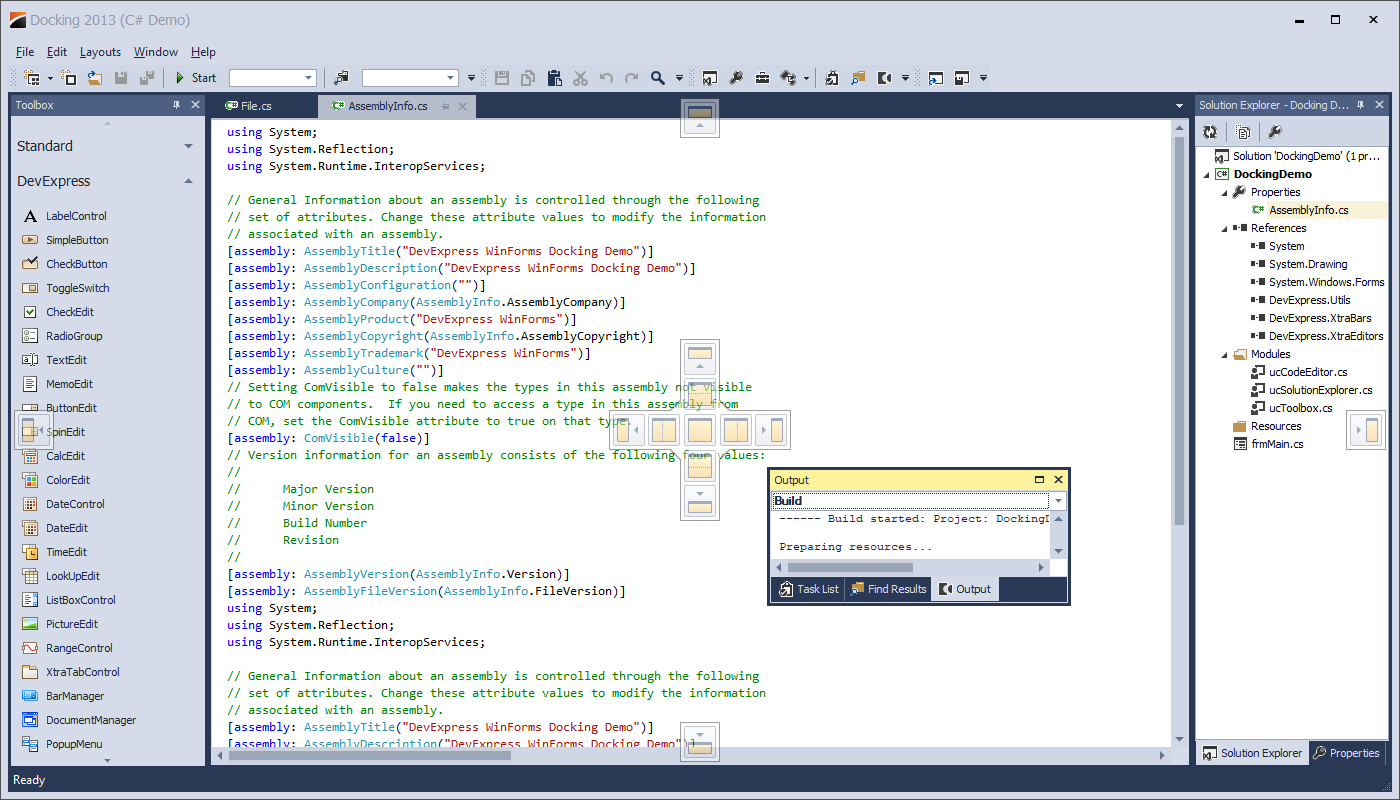 WinForms Docking - Visual Studio 2013 Behavior