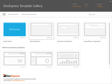 WinForms Project Template Gallery