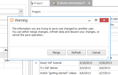 Merging of Concurrent Record Updates in XAF