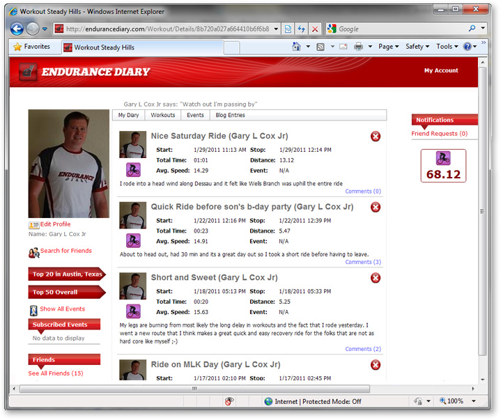 Endurance Diary Account Info Screenshot: DevExpress Case Study