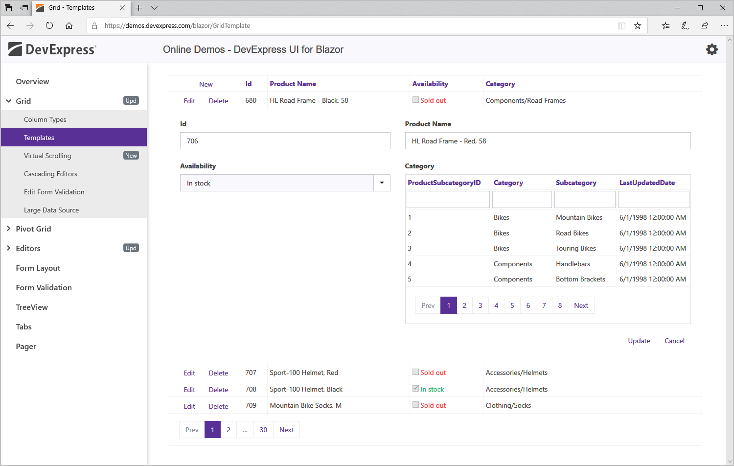 Blazor Data Grid Component - Data Editing, DevExpress