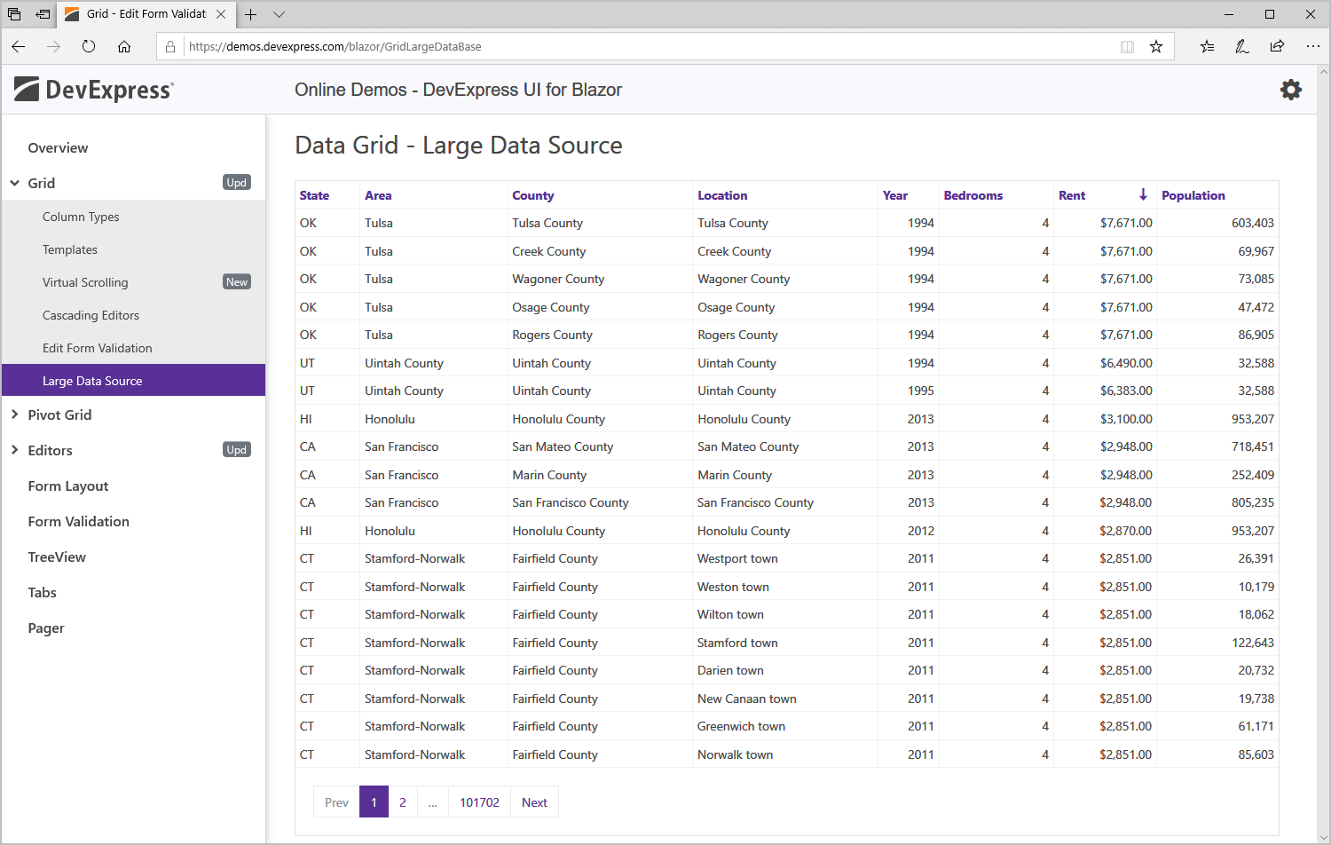 Blazor Data Grid Component - DevExpress