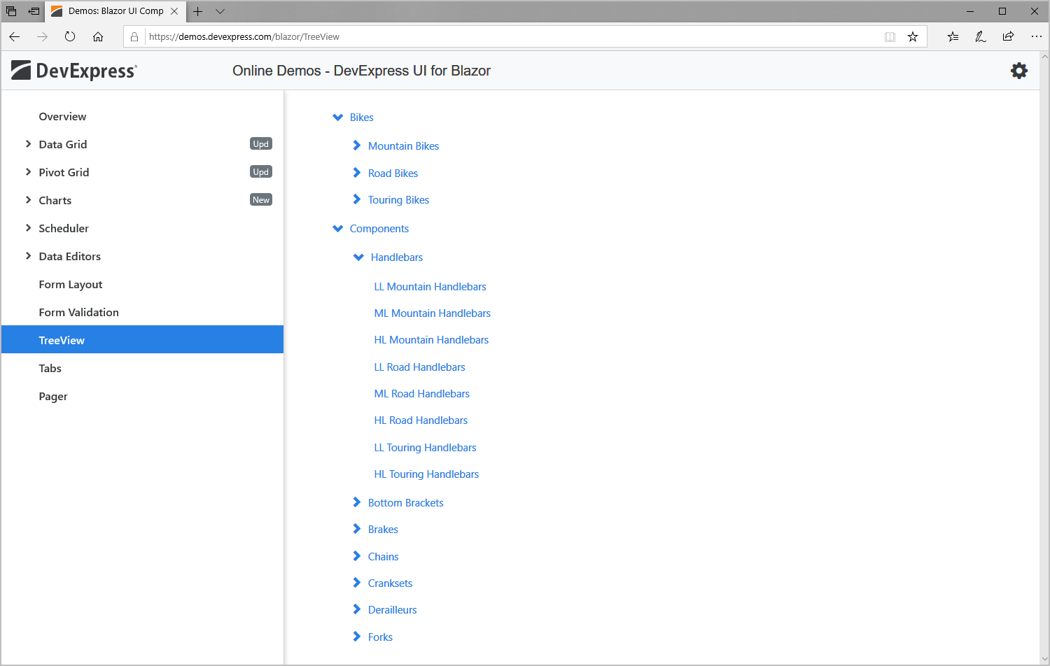 DevExpress TreeView UI Component for Blazor