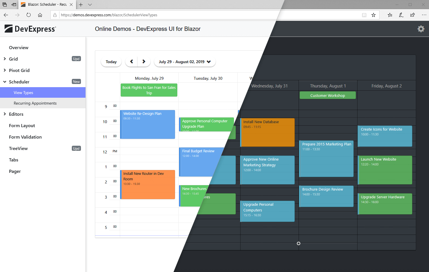 Blazor Scheduler UI Component - Themes, DevExpress