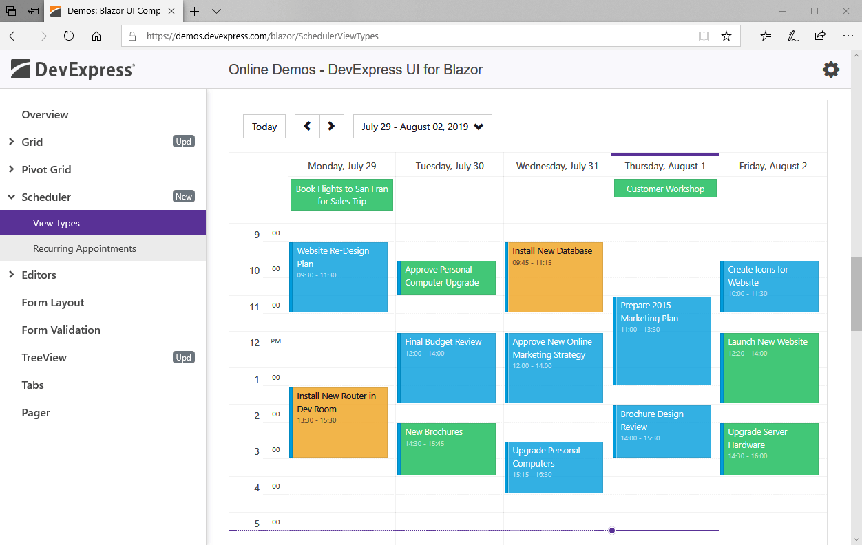 Blazor Scheduler UI Component - Week View, DevExpress