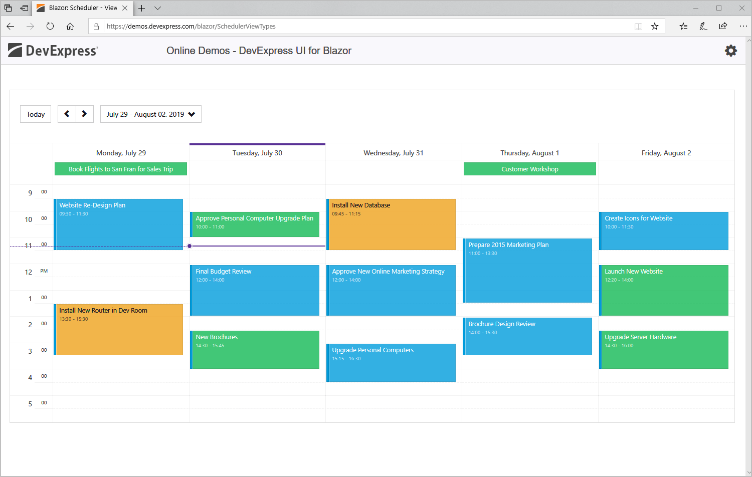 Blazor Scheduler and Calendar Component, DevExpress