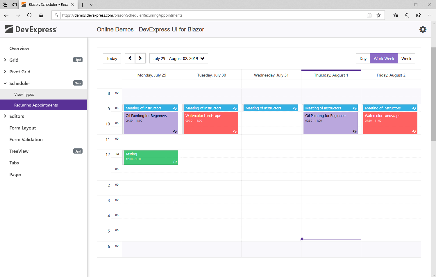 Blazor Scheduler UI Component - Recurring Appointments, DevExpress