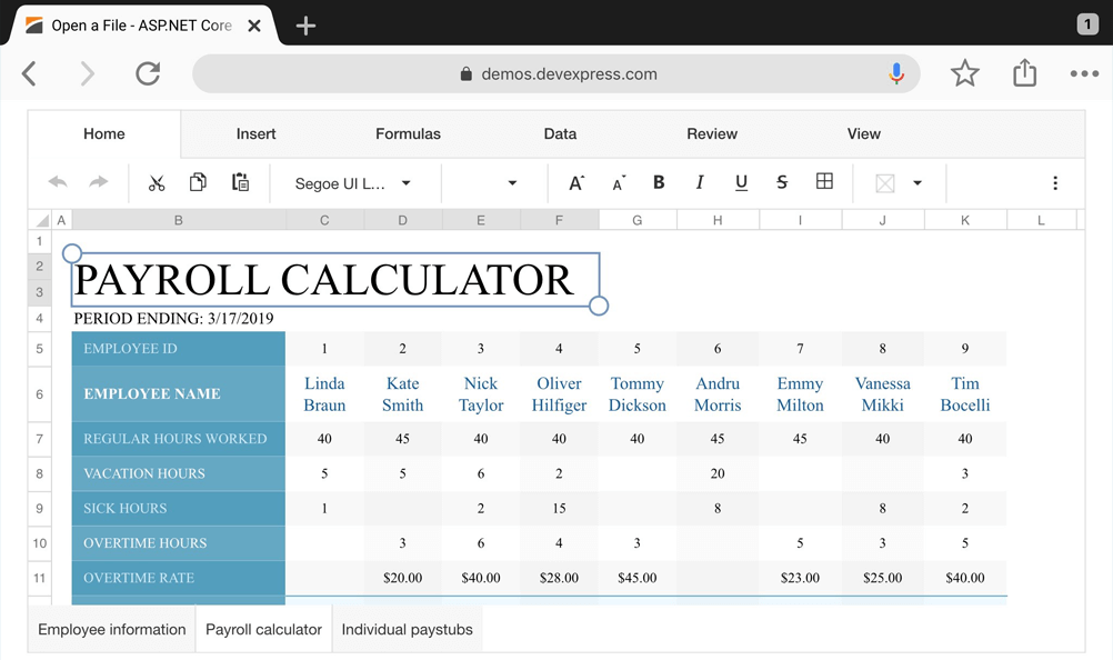 Spreadsheet Controls for ASP.NET Core