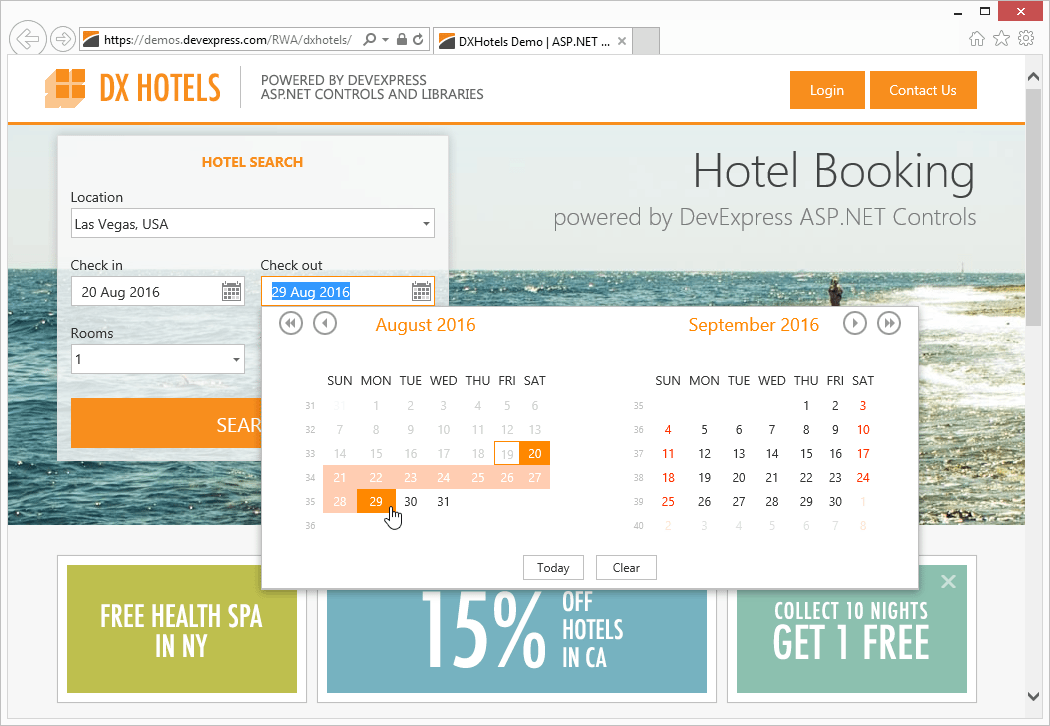 DX Hotels App - Hotel Search with the DevExpress Edit Controls