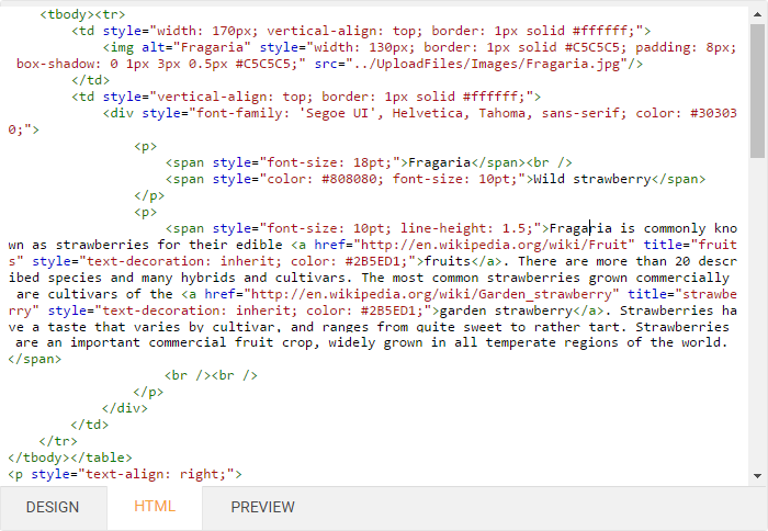 HTML View - ASP.NET HTML Editor, DevExpress